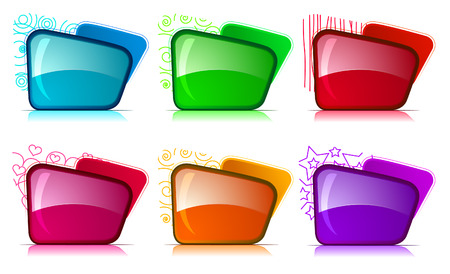 Color and glossy Folder set Vector