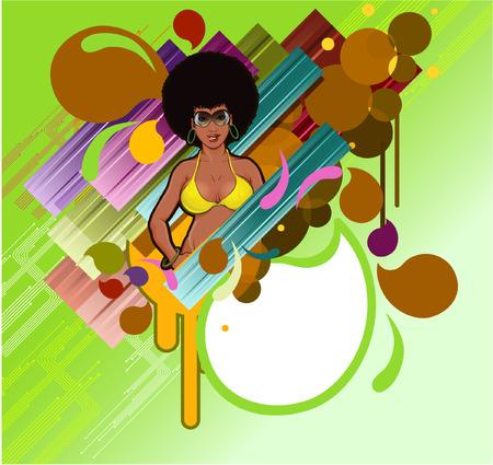 afro girl: Afro girl in colorful design Illustration