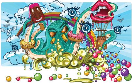 dientes con caries: Ilustraci�n de un pulpo con algunos dulces y caramelos en sus tent�culos, tambi�n hay dientes cariados y un globo volando witrh labios en forma