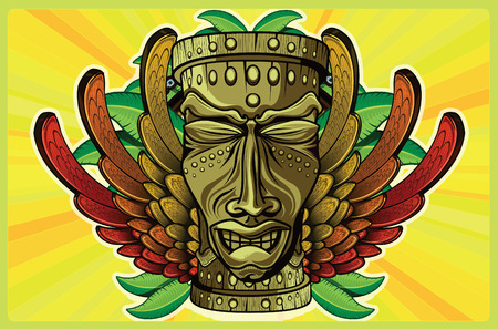 afrika: TIKI wooden masks with human features wings in the colors of the Jamaican flag, some leaves and yellow background behind chain with a circle Illustration