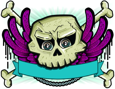 artificial wing: Skull and wing with banner Illustration