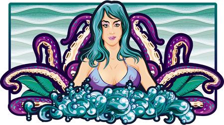Tentakels meisje Sea Stockfoto - 34730308