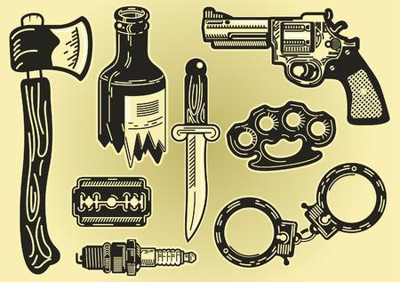 De elementen van criminaliteit Stock Illustratie