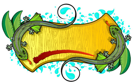 wood frame: Two lizards in wood frame Illustration
