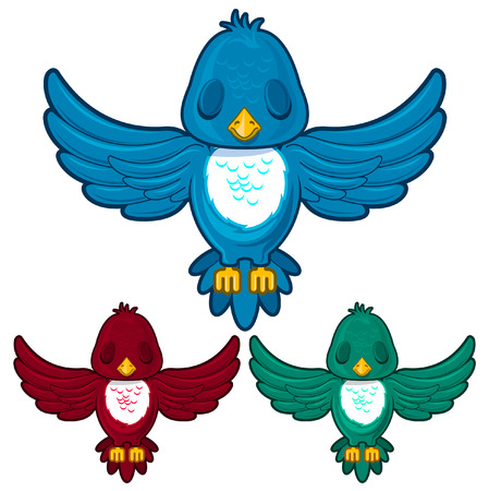 Bird in three different colors Vector