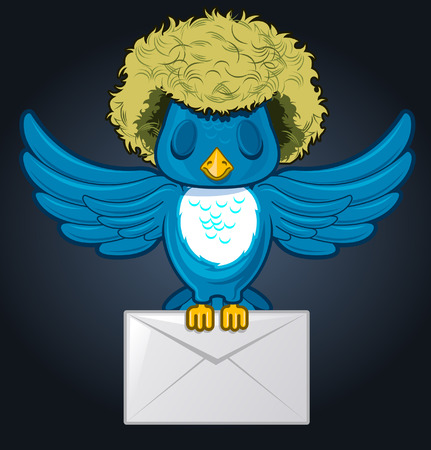 Hairy flying bird with mailing envelope