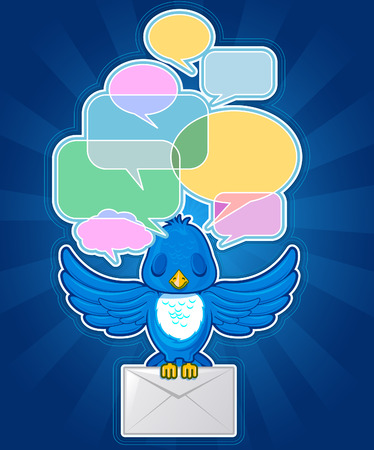 Bird with mail and text balloons Illustration