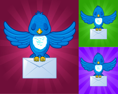Bird with mail on a colored background Vector