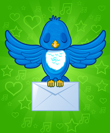Bird with envelope mail Vector