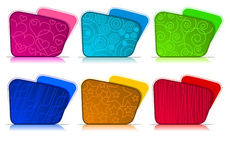Color and textured Folder set Vector