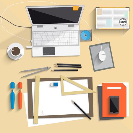 desktop notebook art board flat