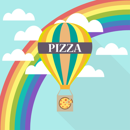 portage: Air balloon pizza delivery flat design Illustration
