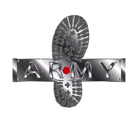 Army boot metallic. Çizim