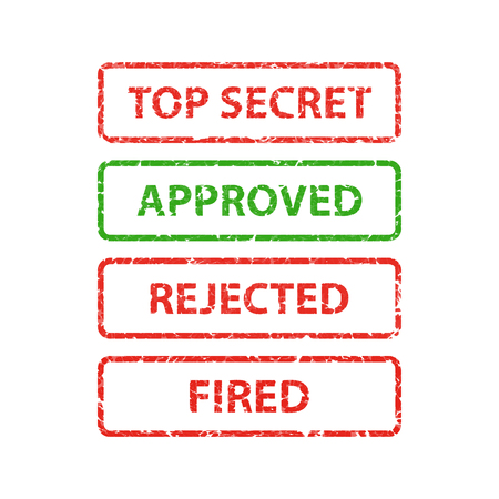 Stamp top secret, approved, rejected and fired. Çizim