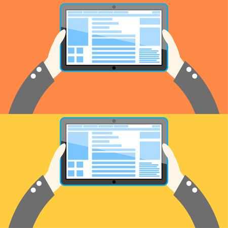 Tablet computer in hand. Flat design. Vector Illustration. Illustration
