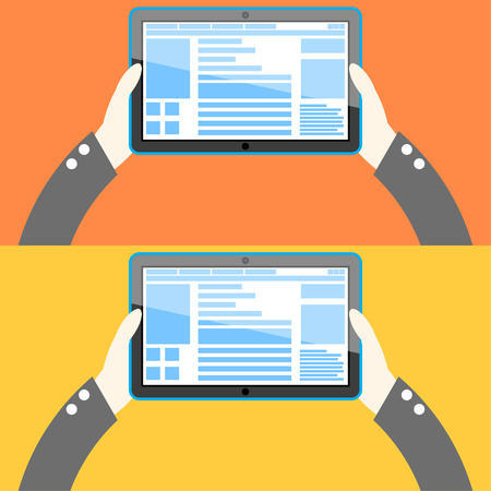 offline: Tablet computer in hand. Flat design. Vector Illustration. Illustration