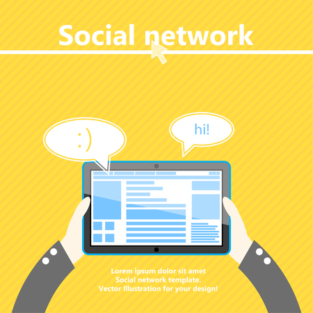Social network. Tablet computer in hand. Flat design. Vector Illustration.