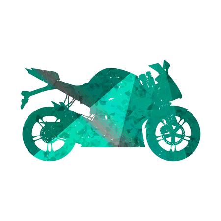 Motorcycle, grunge silhouette sport bike.