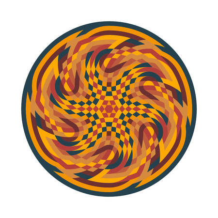 Abstract multicolor symbol. Geometric circular ornament mandala print. Vector Illustration.