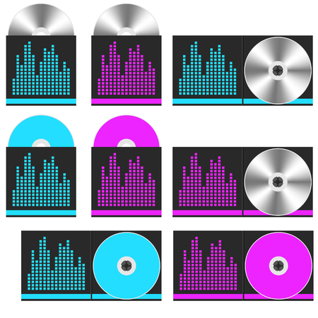 CD disc set. Music concept. Vector Illustration. Иллюстрация
