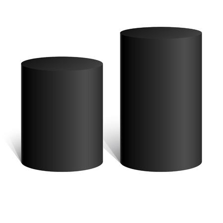 Black cylinder. 3D geometric shape. mock up. Vector Illustration. Çizim
