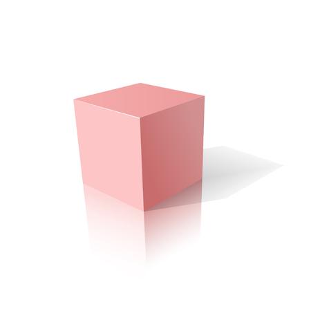 Pink cube 3D.