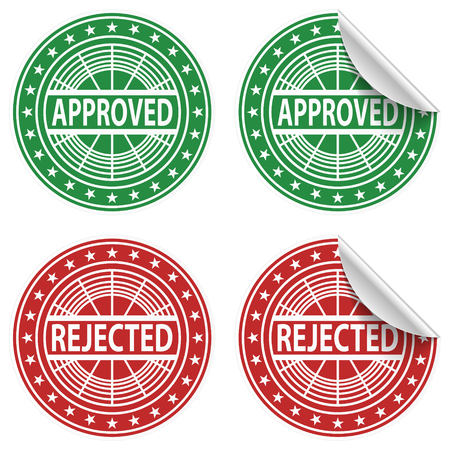 Approved, Rejected stickers. Vector Illustration.