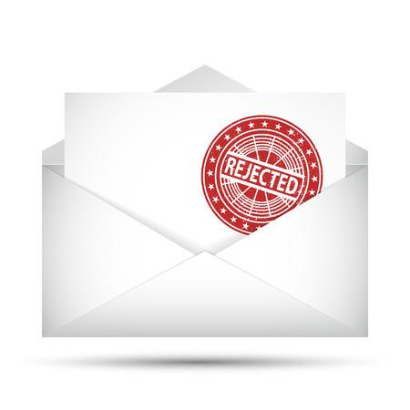 denial: Open envelope. Rejected rubber stamp. Failure concept. Vector Illustration. Illustration