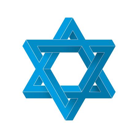 Impossible star of David. Vector Illustration.