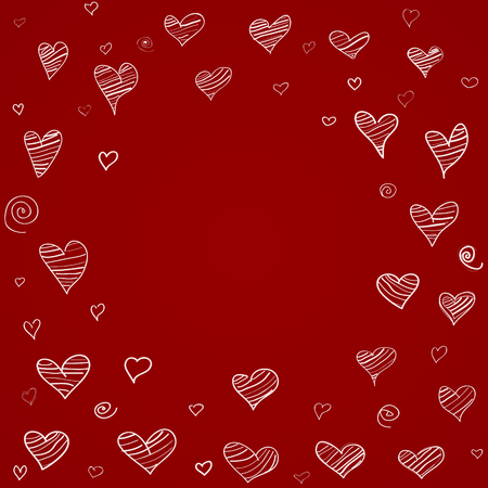 Hearts background freehand drawing.