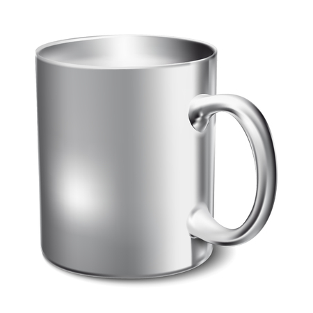 Chromium-plated mug realistic 3D mockup on a white background vector illustration.