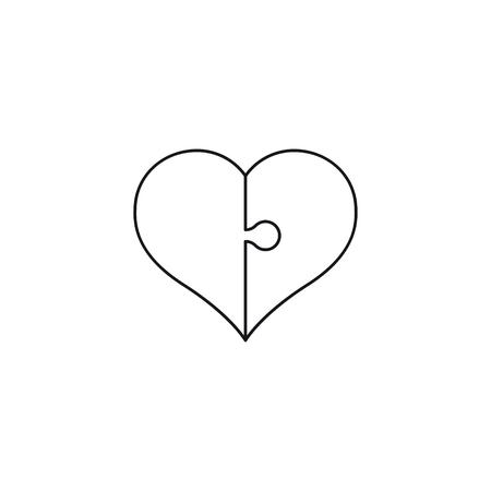 bosom: Heart Puzzle line art icon. St. Valentines Day concept. Vector Illustration. Illustration