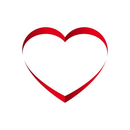 Heart ribbon flat. St. Valentines Day concept. Vector Illustration.