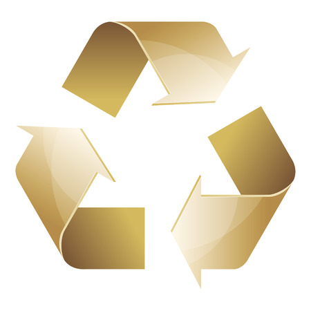 Recycle symbol of conservation brown icon isolated on white background. 3D. Vector Illustration.