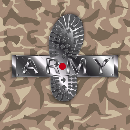 Camouflage army boot. Ilustrace