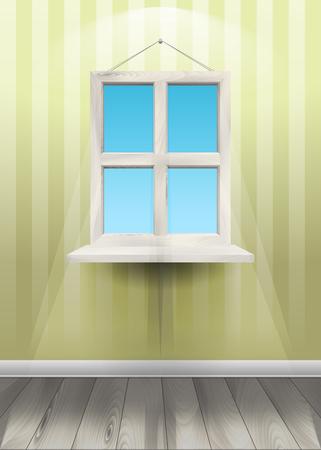 Window on the wall. Vector Illustration Illusztráció