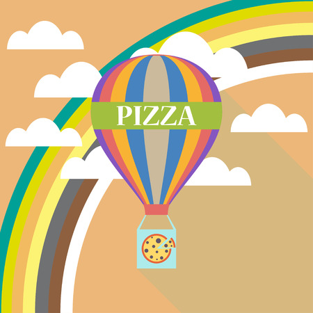 Air balloon pizza delivery flat design Illustration