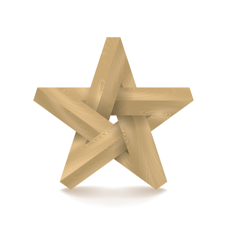 ligneous: Impossible star. Imitation wood. Vector Illustration