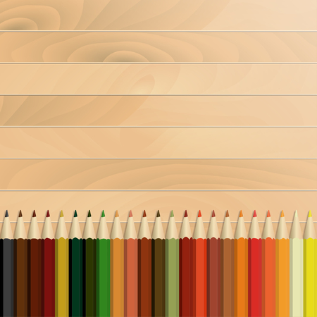 Pencils multicolored autumnal, wooden background / texture