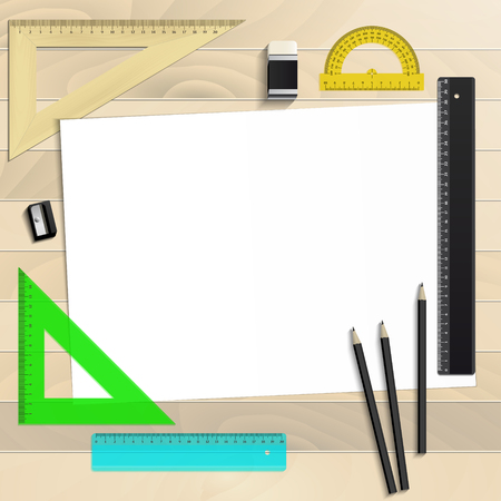 Workplace art board, paper, ruler, protractor, pencils, eraser and sharpener realistic plastic on a wooden background 向量圖像