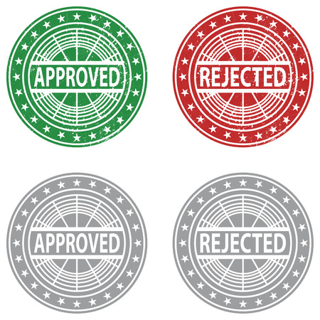 denial: Approved, Rejected rubber stamp. Vector Illustration
