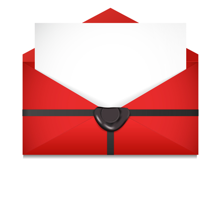 sealing wax: Open envelope. Sealing wax. St. Valentines Day concept. Vector Illustration