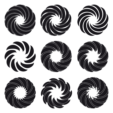 ideograph: Logo flower silhouette icon set. Vector Illustration
