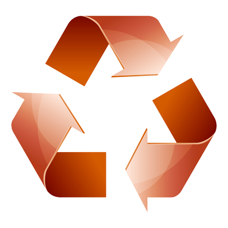 Recycle symbol of conservation brown icon isolated on white background. 3D. Vector Illustration