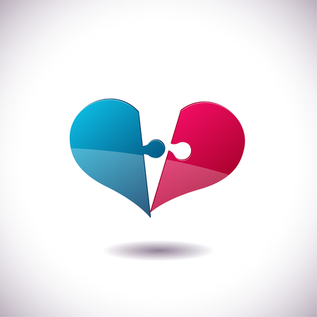 bosom: Heart Puzzle icon. St. Valentines Day concept. Vector Illustration