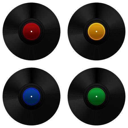 Vinyl record set. Vector Illustration Çizim