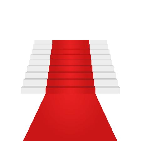 Stairs up design element. Red carpet. Background. Vector Illustration