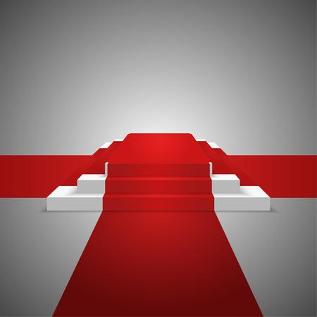 Podium design element. Red carpet. Background. Vector Illustration Ilustracja