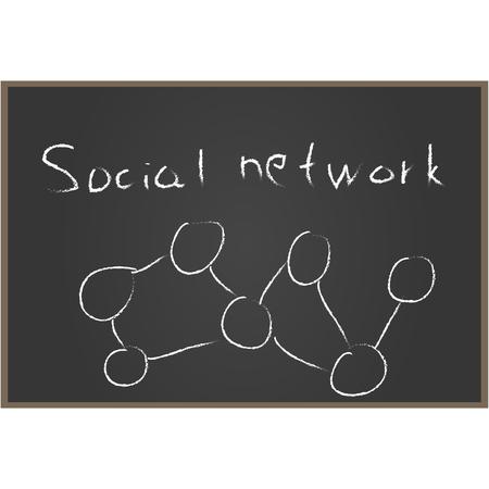 社会的なネットワーク。黒板。ベクトル図