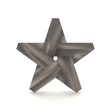 Impossible star. Imitation wood. Vector Illustration
